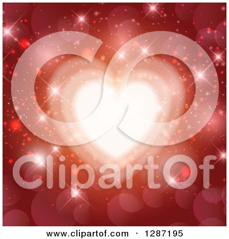 Clipart of a Shining Heart over Sparkles and Flares on Red - Royalty Free Vector Illustration by KJ Pargeter