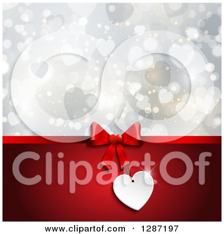 Clipart of a Blank Gift Tag on a Bow with Red over Hearts and Bokeh - Royalty Free Vector Illustration by KJ Pargeter