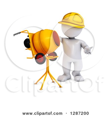 Clipart of a 3d White Construction Worker Man Standing by a Cement Mixer - Royalty Free Illustration by KJ Pargeter