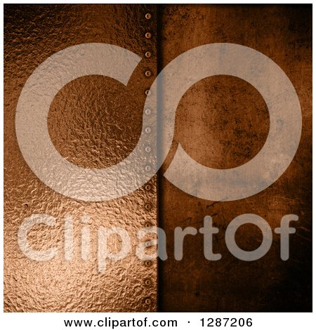 Clipart of a 3d Background of Bronze Metal Plate Screwed into Concrete - Royalty Free Illustration by KJ Pargeter