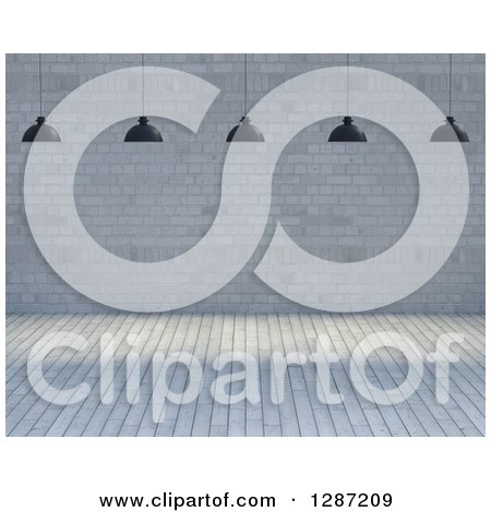 Clipart of a 3d Industrial Lights over an Empty Room with Wood Floors and Brick Walls - Royalty Free Illustration by KJ Pargeter