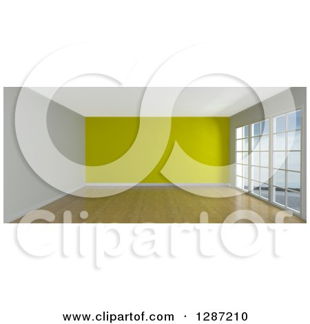 Clipart of a 3d Empty Room Interior with Floor to Ceiling Windows and a Yellow Wall - Royalty Free Illustration by KJ Pargeter