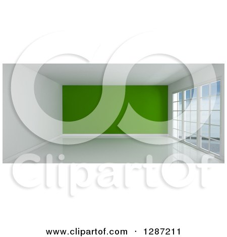 Clipart of a 3d Empty Room Interior with Floor to Ceiling Windows and a Green Wall - Royalty Free Illustration by KJ Pargeter
