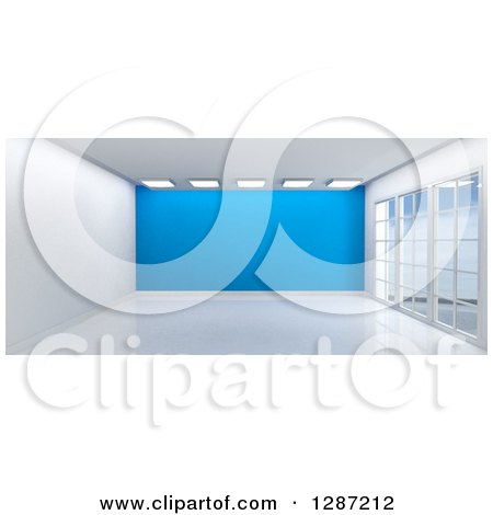 Clipart of a 3d Empty Room Interior with Floor to Ceiling Windows, Lights and a Blue Wall - Royalty Free Illustration by KJ Pargeter