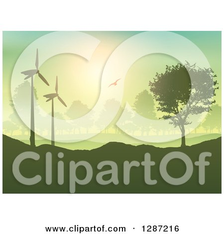 Bird Flying over a Hilly Silhouetted Green Landscape, Wind Turbines and Trees Posters, Art Prints