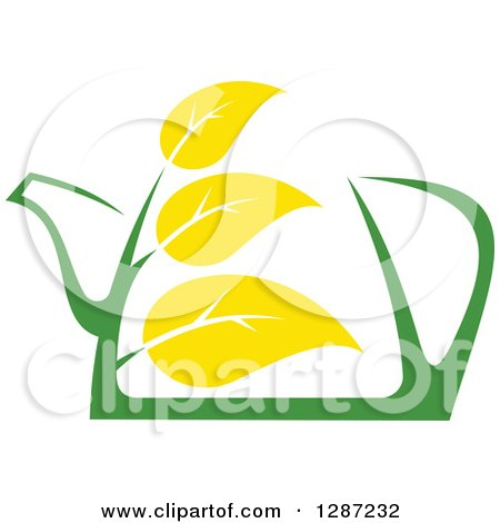 Clipart of a Green and Yellow Tea Pot with Leaves 6 - Royalty Free Vector Illustration by Vector Tradition SM
