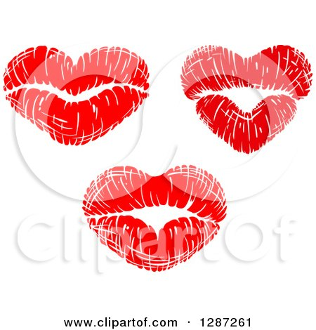 Clipart of Red Lipstick Kisses in the Shape of Hearts - Royalty Free Vector Illustration by Vector Tradition SM