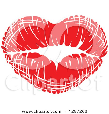 Clipart of a Red Lipstick Kiss in the Shape of a Heart - Royalty Free Vector Illustration by Vector Tradition SM