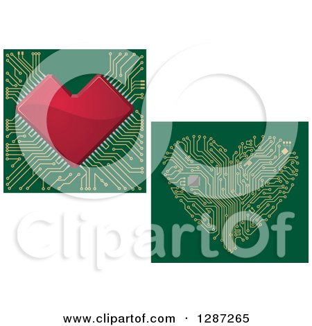 Clipart of Circuit Heart Motherboards - Royalty Free Vector Illustration by Vector Tradition SM