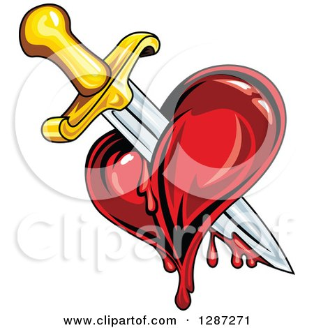 Clipart of a Sword Stabbing a Bleeding Heart 2 - Royalty Free Vector ...