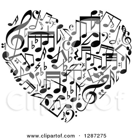 Clipart of a Black and White Music Note Heart - Royalty Free Vector Illustration by Vector Tradition SM