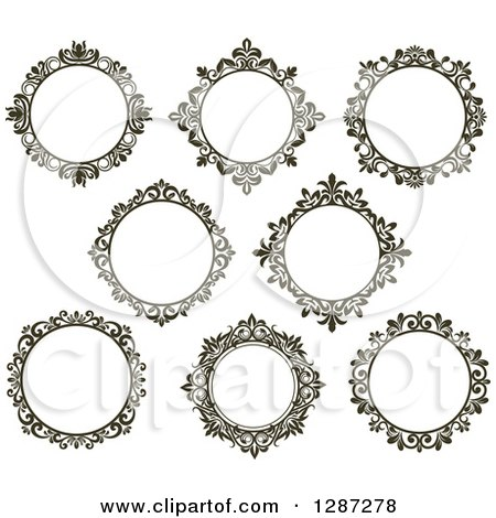 Clipart of Dark Brown Round Ornate Vintage Floral Frames - Royalty ...