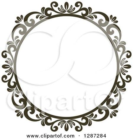 dark brown round ornate vintage floral frame 6 by vector tradition sm
