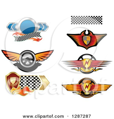 Clipart of Auto Racing Steering Wheels, Shields and Trophies - Royalty Free Vector Illustration by Vector Tradition SM