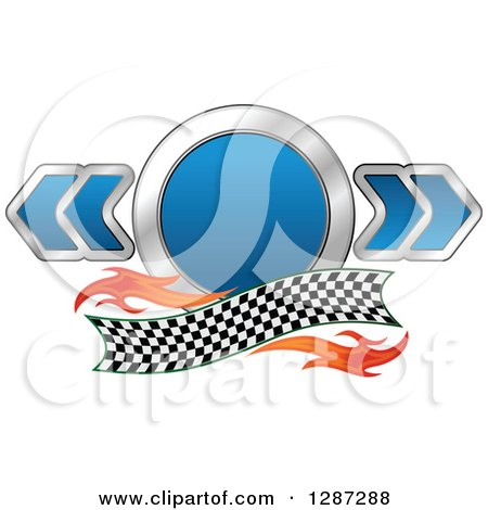 Clipart of a Blue and Chrome Racing Circle and Arrows with Flames and a Checkered Banner - Royalty Free Vector Illustration by Vector Tradition SM