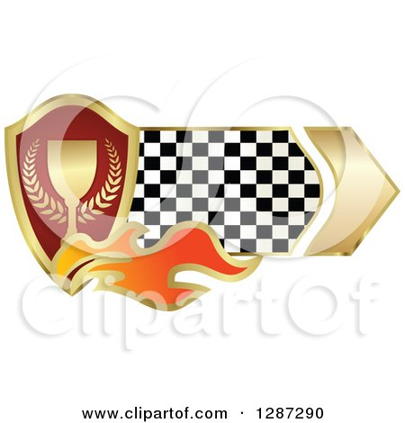 Clipart of a Gold and Red Wreath and Trophy Shield with Flames and a Checkered Banner - Royalty Free Vector Illustration by Vector Tradition SM