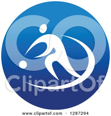 Clipart of a Round Blue Spots Icon of a White Male Athlete Playing Basketball - Royalty Free Vector Illustration by Vector Tradition SM