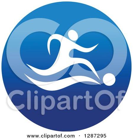 Clipart of a Round Blue Spots Icon of a White Male Athlete Playing Soccer - Royalty Free Vector Illustration by Vector Tradition SM