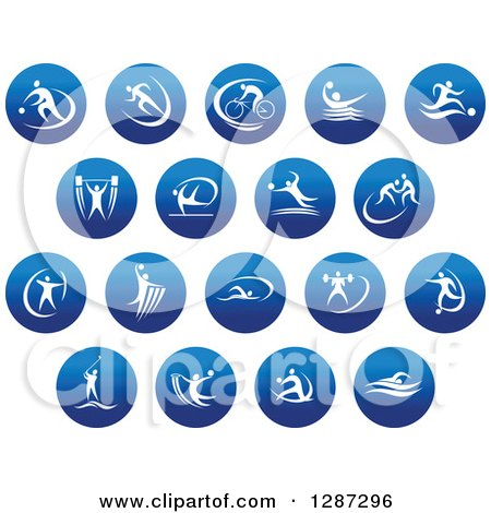 Clipart of Round Blue Spots Icons of White Male Athletes in Action - Royalty Free Vector Illustration by Vector Tradition SM