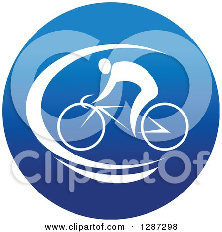 Clipart of a Round Blue Spots Icon of a White Male Athlete Cyclist - Royalty Free Vector Illustration by Vector Tradition SM