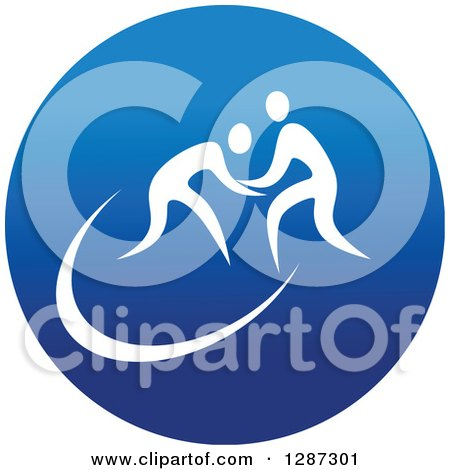 Clipart of a Round Blue Spots Icon of White Male Athletes Wrestling - Royalty Free Vector Illustration by Vector Tradition SM