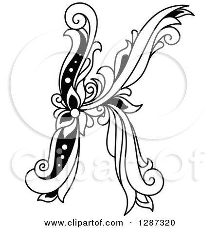 Clipart of a Black and White Vintage Floral Capital Letter K - Royalty Free Vector Illustration by Vector Tradition SM