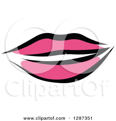 Clipart of Sketched Black and Pink Feminine Lips 2 - Royalty Free Vector Illustration by Vector Tradition SM