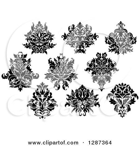 Clipart of a Black and White Arabesque Damask Designs 11 - Royalty Free Vector Illustration by Vector Tradition SM
