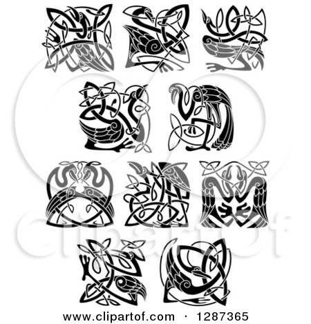 Clipart of a Black and White Celtic Heron, Stork and Crane Bird Knots - Royalty Free Vector Illustration by Vector Tradition SM