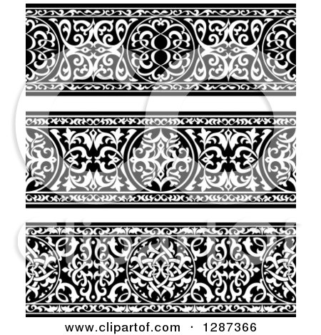 Clipart of Black and White Ornate Floral Arabian Borders - Royalty Free Vector Illustration by Vector Tradition SM