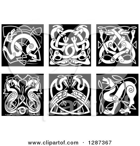 Clipart of Black and White Celtic Knot Dogs, Wolves, Storks and Herons - Royalty Free Vector Illustration by Vector Tradition SM