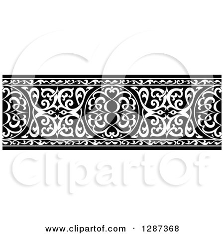 Clipart of a Black and White Ornate Floral Arabian Border - Royalty Free Vector Illustration by Vector Tradition SM