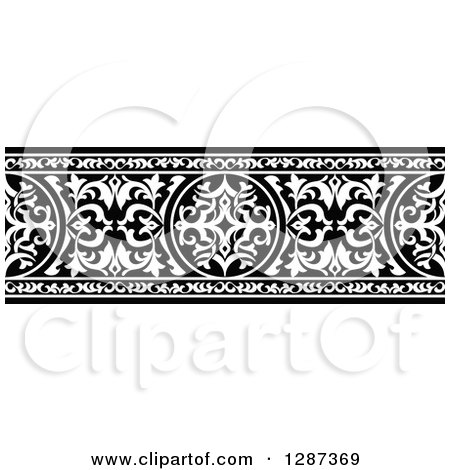 Clipart of a Black and White Ornate Floral Arabian Border 2 - Royalty Free Vector Illustration by Vector Tradition SM