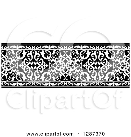 Clipart of a Black and White Ornate Floral Arabian Border 3 - Royalty Free Vector Illustration by Vector Tradition SM