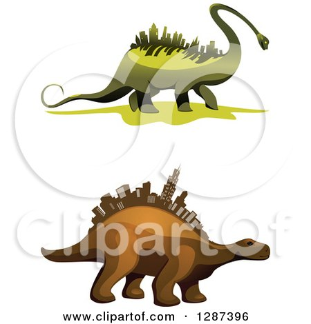 Clipart of Green and Brown Dinosaurs with City Skyscrapers on Their Backs - Royalty Free Vector Illustration by Vector Tradition SM