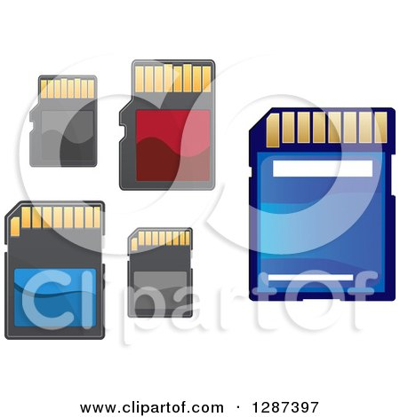Clipart of Blue Red and Black Memory Cards - Royalty Free Vector Illustration by Vector Tradition SM
