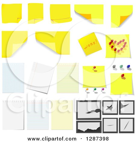 Clipart of Yellow Sticky Notes and Ruled Paper Designs - Royalty Free Vector Illustration by Vector Tradition SM