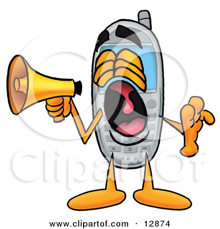 Clipart Picture of a Wireless Cellular Telephone Mascot Cartoon Character Screaming Into a Megaphone by Toons4Biz