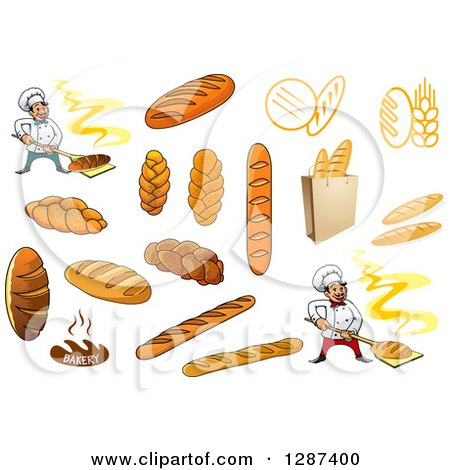 Clipart of Breads and Bakery Chefs - Royalty Free Vector Illustration by Vector Tradition SM