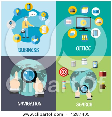 Clipart of Business, Office, Navigation, and Search Flat Modern Designs - Royalty Free Vector Illustration by Vector Tradition SM