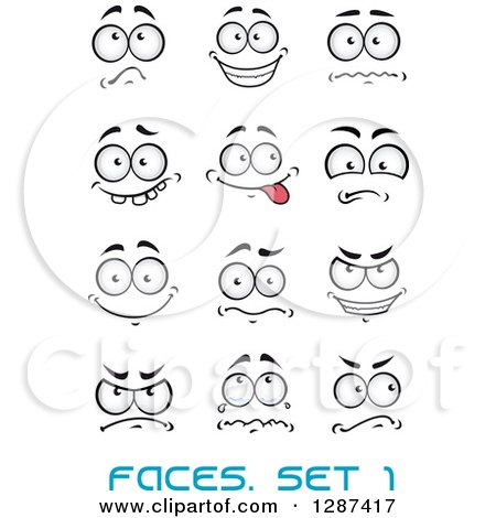 Clipart of Expressional Faces with Blue Text - Royalty Free Vector Illustration by Vector Tradition SM