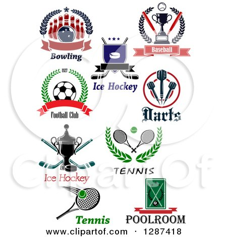 Clipart of Bowling, Ice Hockey, Baseball, Soccer, Darts, Tennis and Billiards Sports Designs - Royalty Free Vector Illustration by Vector Tradition SM
