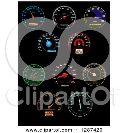 Colorful Illuminated Speedometers on Black 3 Posters, Art Prints