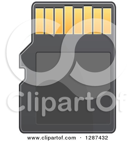 Clipart of a Black and Gold Memory Card - Royalty Free Vector Illustration by Vector Tradition SM