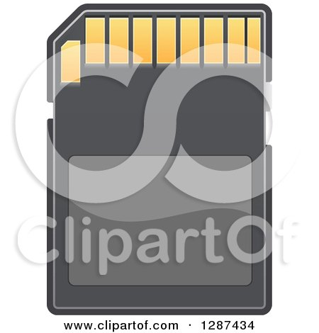 Clipart of a Black and Gold Memory Card 2 - Royalty Free Vector Illustration by Vector Tradition SM