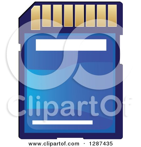 Clipart of a Blue and Gold Memory Card - Royalty Free Vector Illustration by Vector Tradition SM