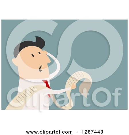 Clipart of a Flat Modern Design Styled Stressed White Businessman Reading a Long List or Document, over Blue - Royalty Free Vector Illustration by Vector Tradition SM