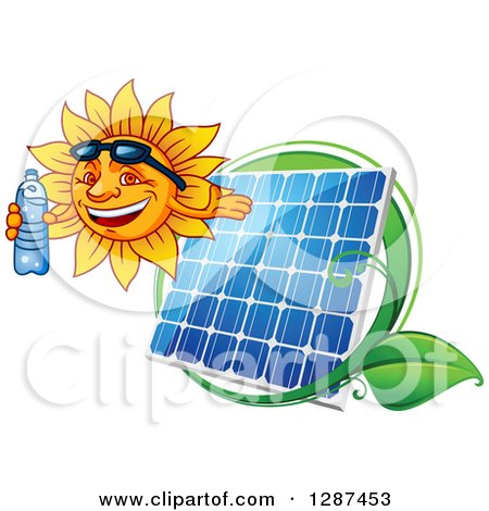 Clipart of a Happy Sun Holding a Water Bottle and Facing Left over a Solar Panel and Leaves - Royalty Free Vector Illustration by Vector Tradition SM