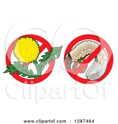 Clipart of Lawn Care Designs of a Dandelion Weed Flower and a Grub in Prohibited Symbols - Royalty Free Vector Illustration by Toons4Biz