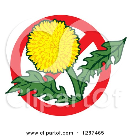 Clipart of a Lawn Care Design of a Dandelion Weed Flower in a Prohibited Symbol - Royalty Free Vector Illustration by Toons4Biz